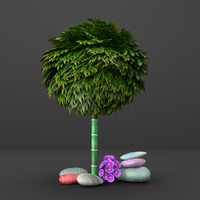 3d model cg styled bamboo tree