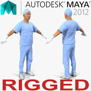 male surgeon asian rigged 3d ma