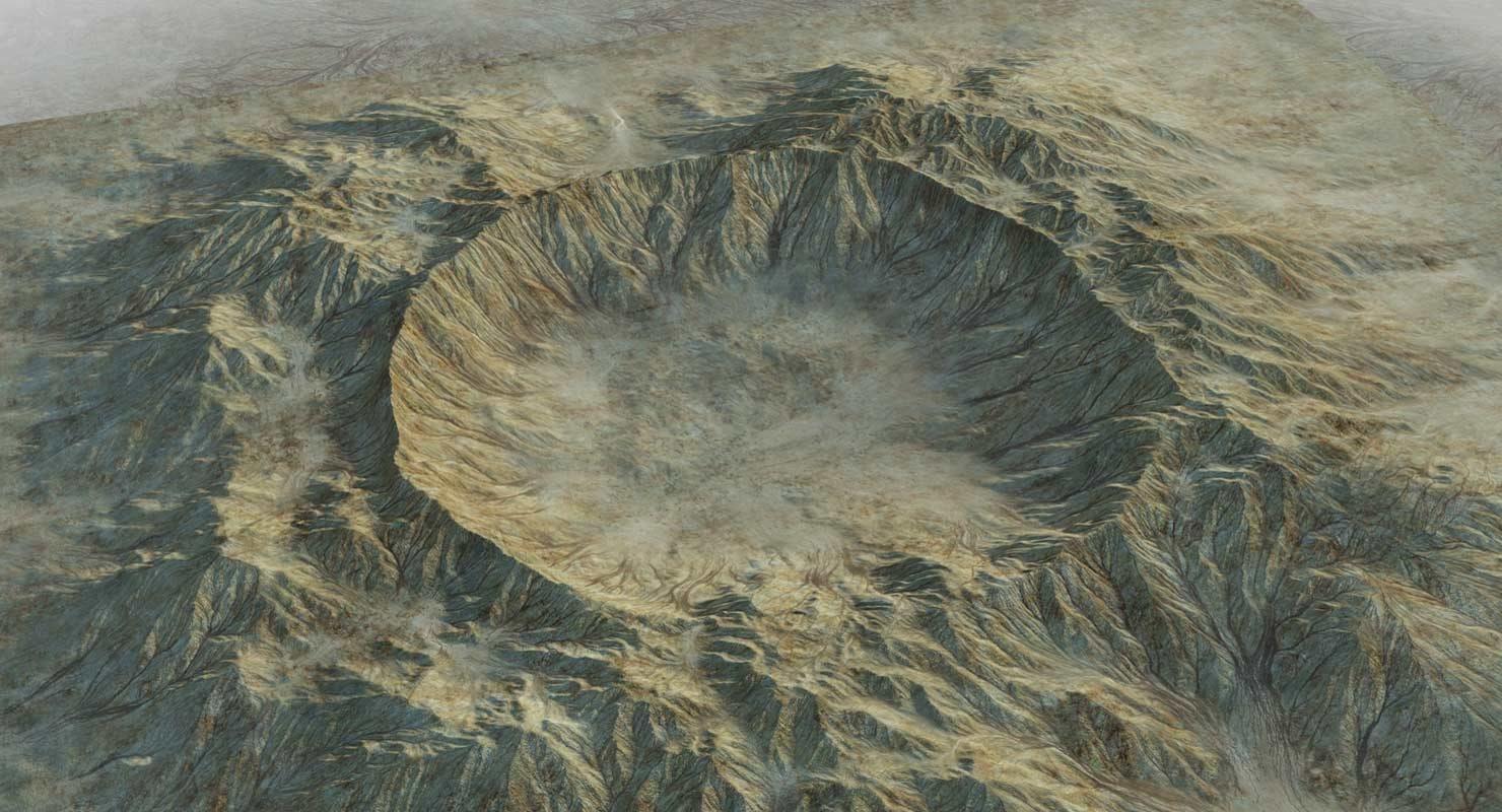 3d model crater terrain landscape