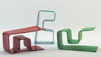 3d aio table bench chair