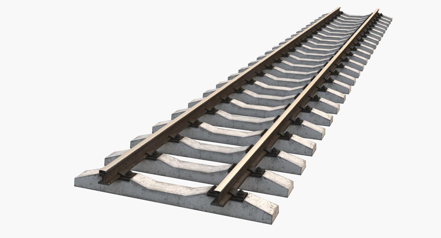railway rails 3d model