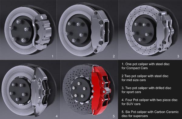 3d model random brake set tyre