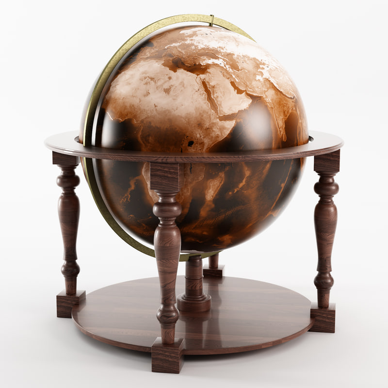 c4d photorealistic old wooden globe