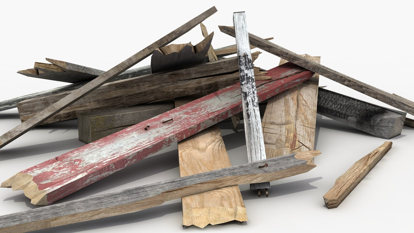 3d wood planks pile model