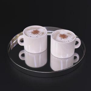 cappuccino coffee tray 3d model