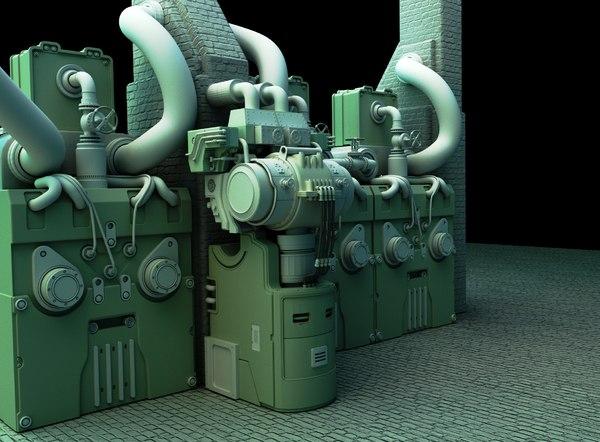 industrial boiler 3d blend