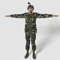 3d male soldier human