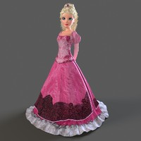 cartoon princess rigged bella 3d max