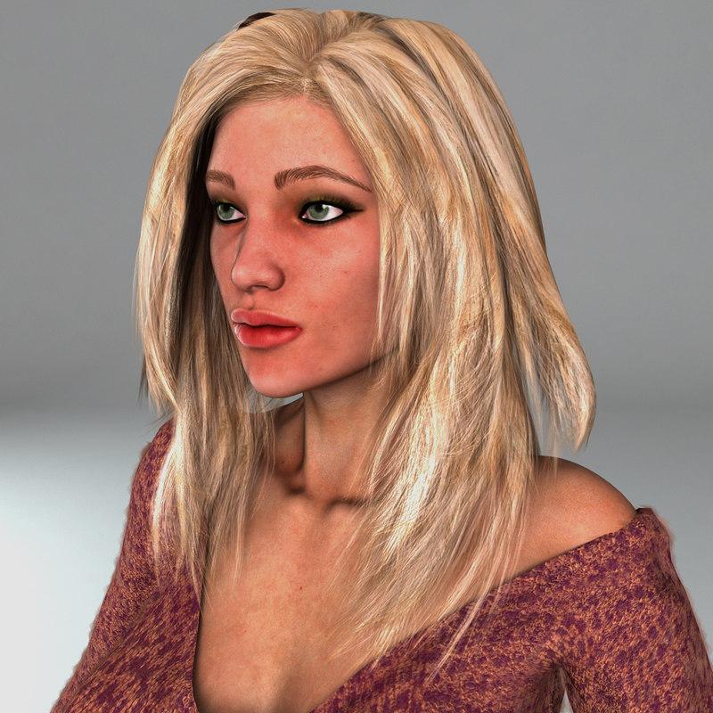 3d realistical woman rigged karina