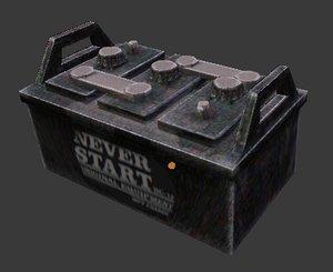 rusty old car battery 3d obj