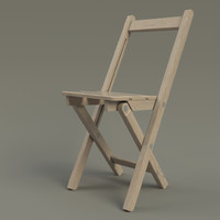 3ds folding chair wood