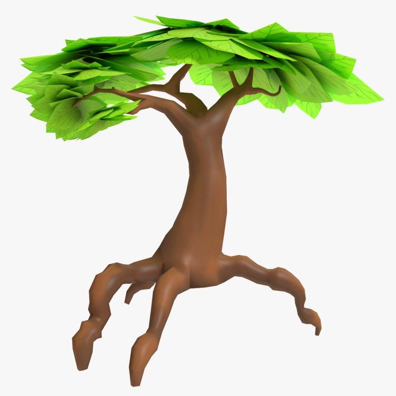 3d fantasy cartoon tree model