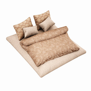 3d bed set highpoly