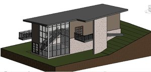 3d model tow floors villa house modern