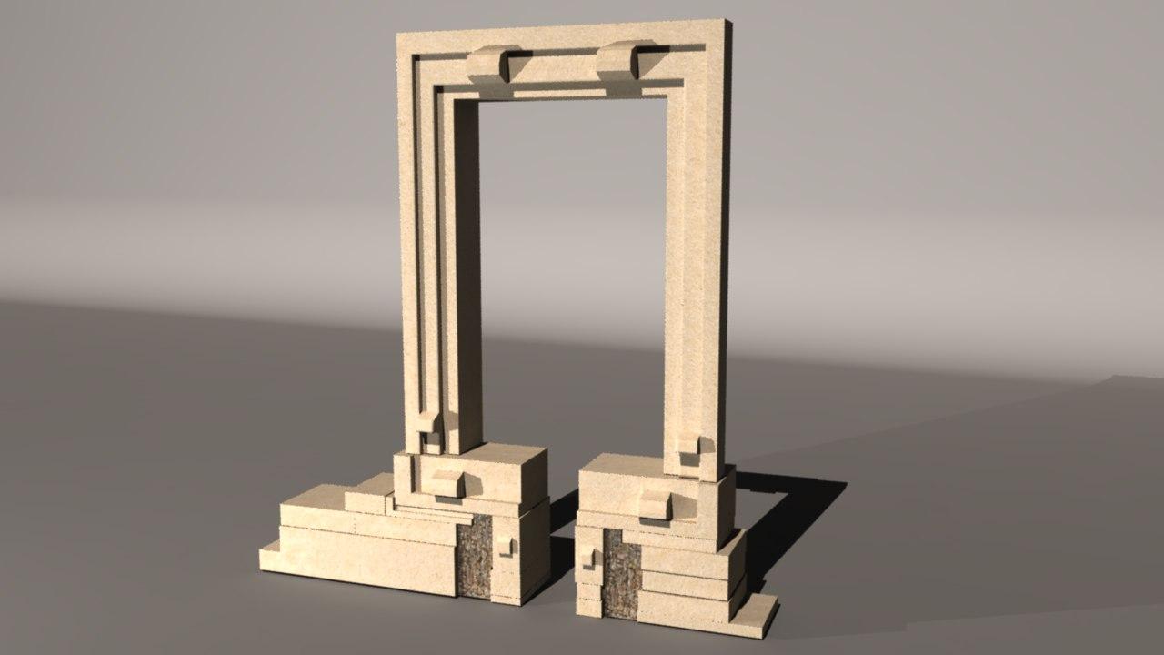 3d portara temple island naxos