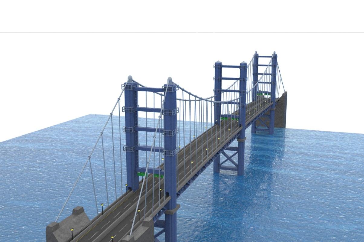 3d model of suspension bridge