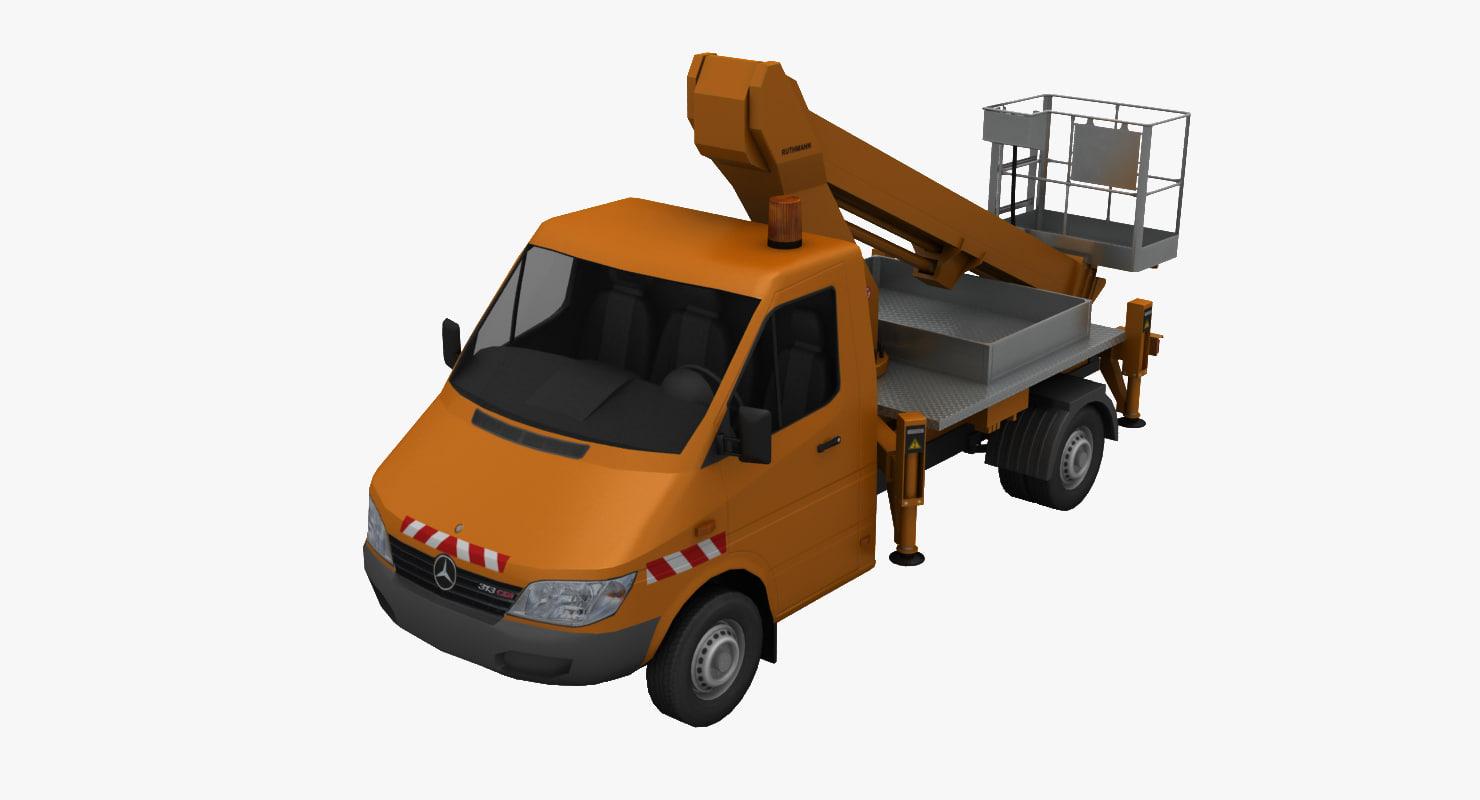 mercedes sprinter crane 3d model