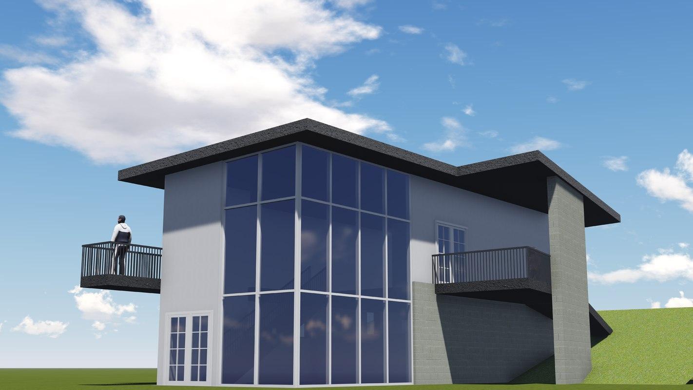 villa house modern 3d model
