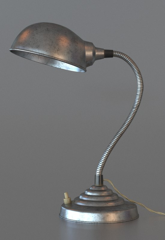 3d model gooseneck lamp light