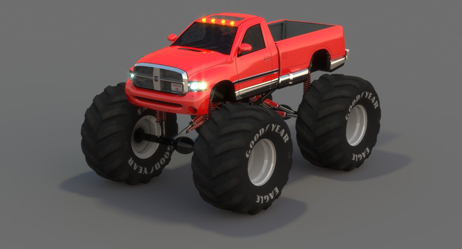 Low Poly Dodge Ram Monster Truck 3ds