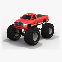 low-poly dodge ram monster truck 3ds