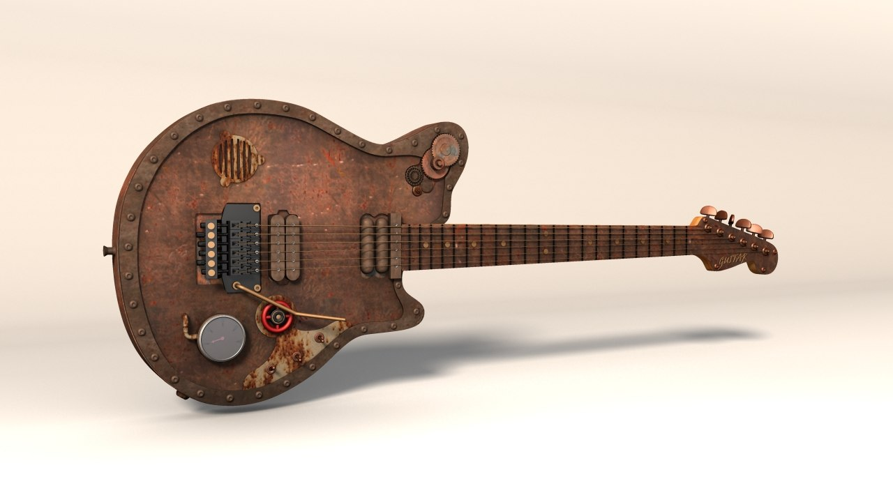 steampunk electric guitar obj