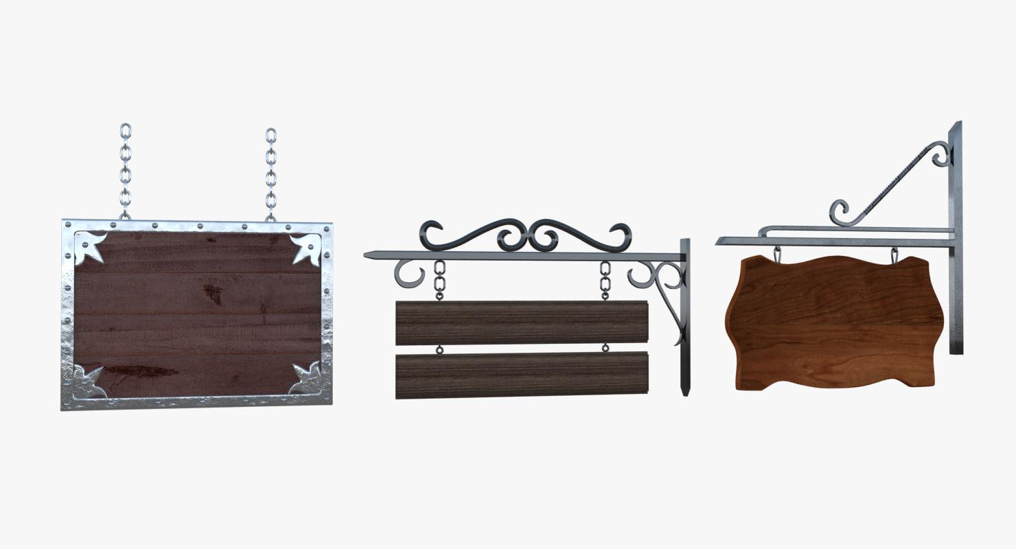 3d model wood signs