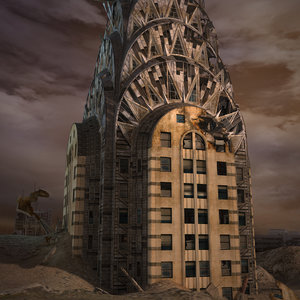3d destroyed chrysler building v-ray