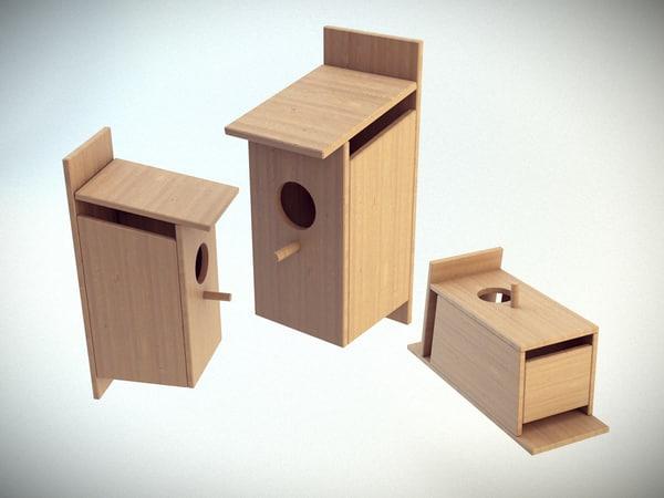 3d birdhouse bird model