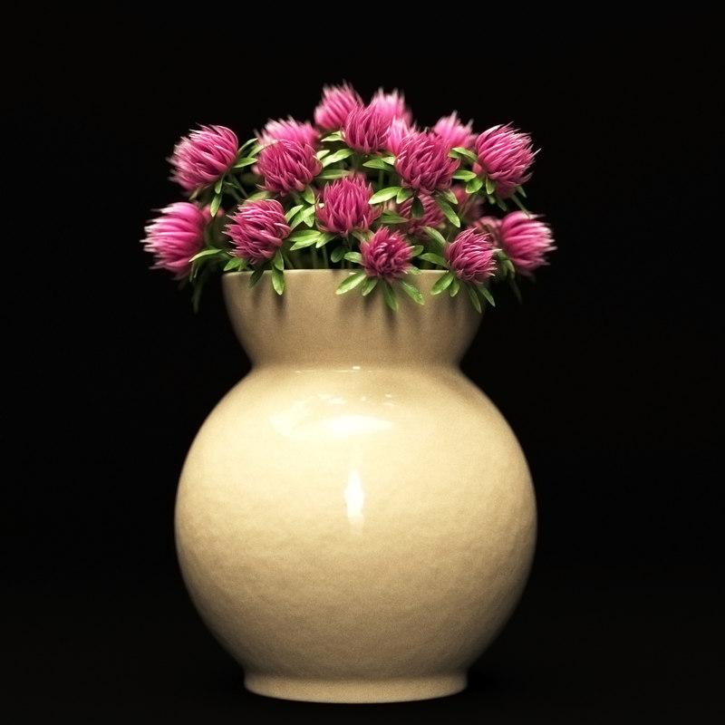clover flowers vase 3d model