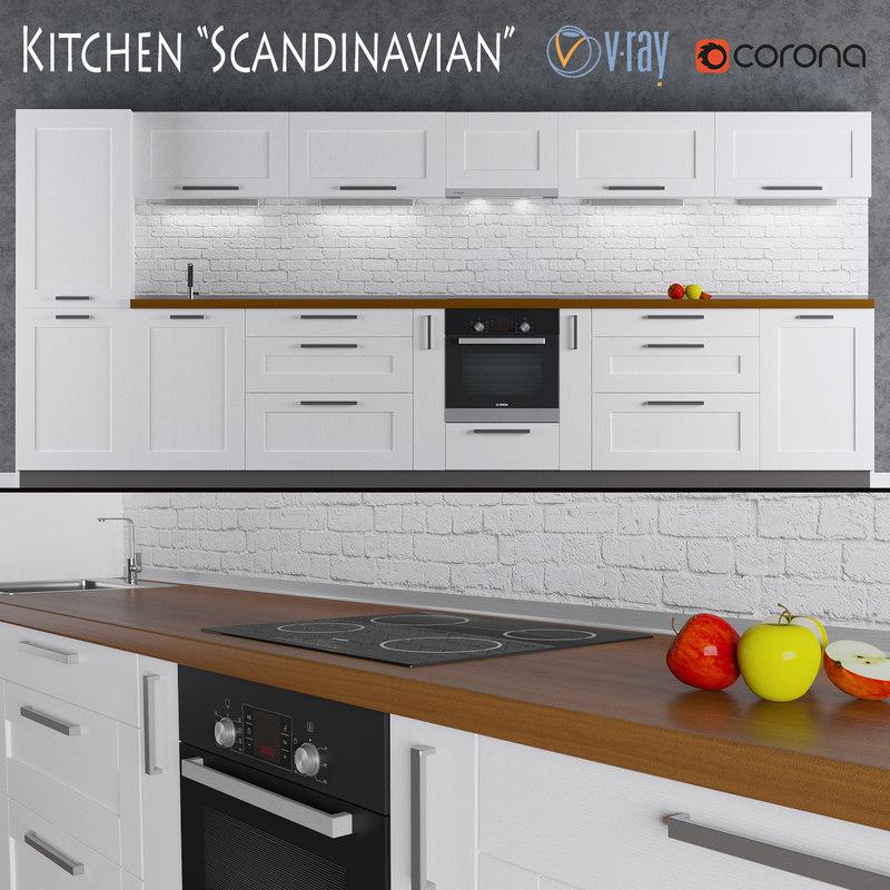 kitchen scandinavian 3d max