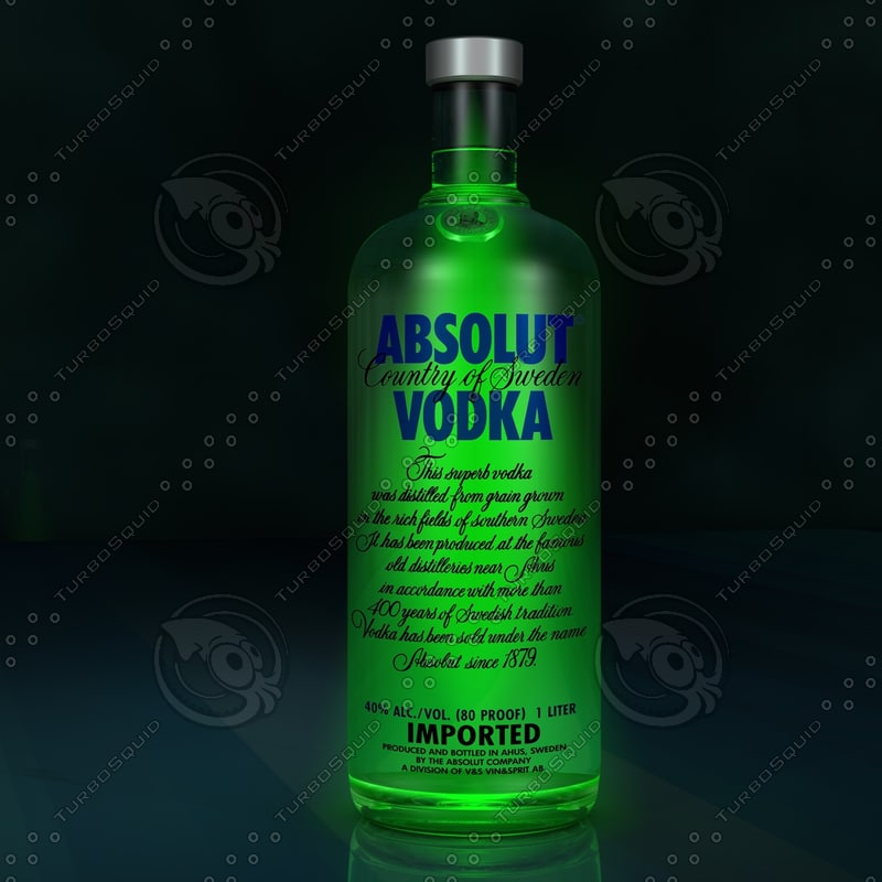 3d photorealistic absolute vodka bottle