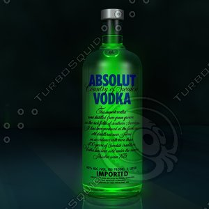 3d photorealistic absolute vodka bottle