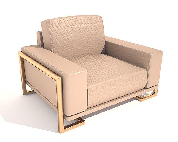 3d gianna leather chair half model