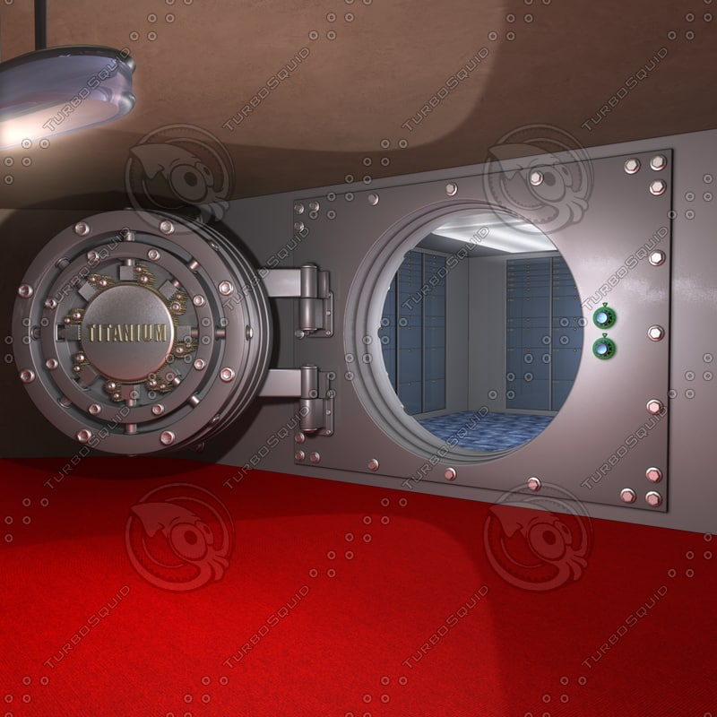 bank safe animatable parts 3d dxf