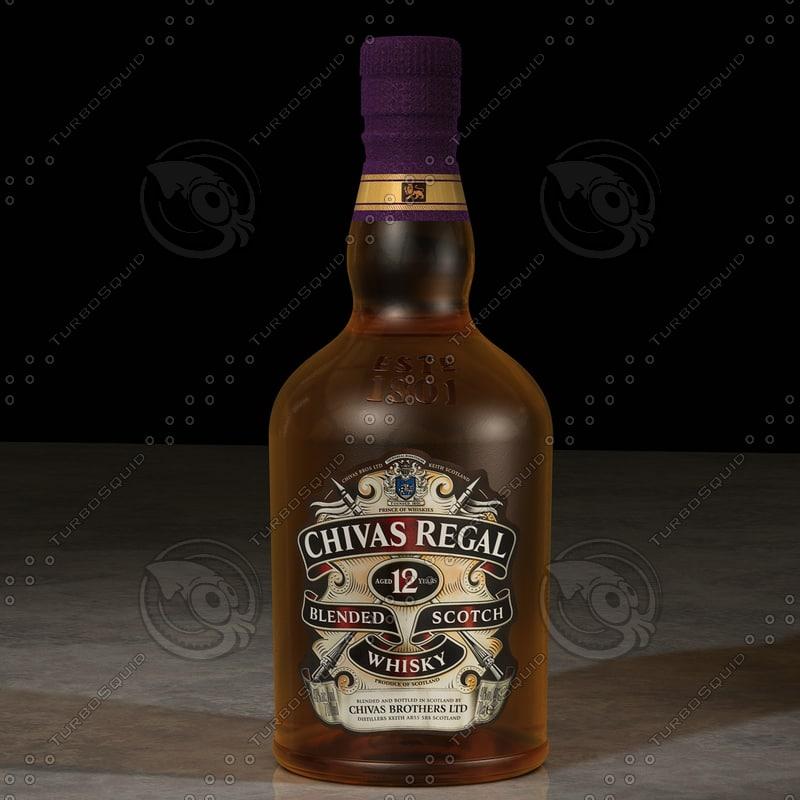 photorealistic chivas regal whisky bottle 3d model