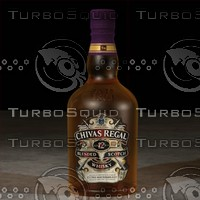 photorealistic chivas regal whisky bottle 3d model
