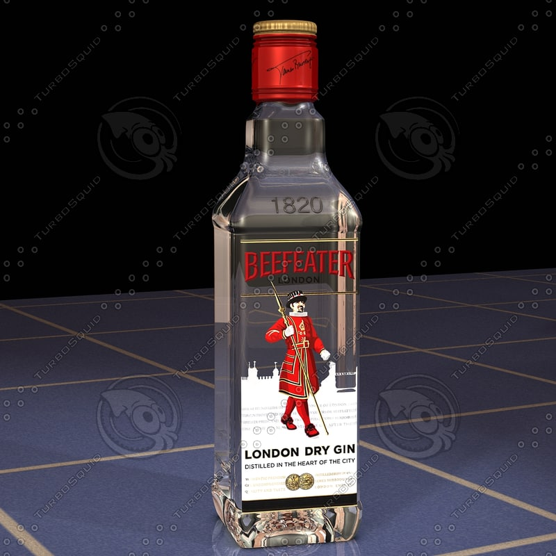 3ds photorealistic beefeater gin bottle