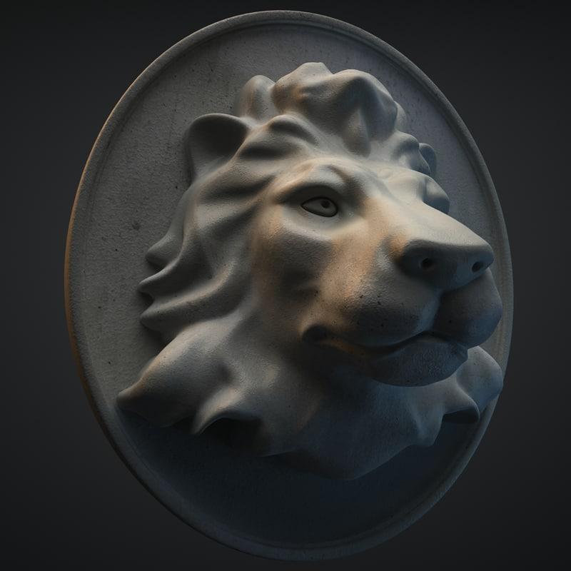 3d model lion statue