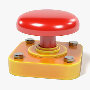 3d red button model