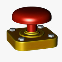 red button 3d c4d