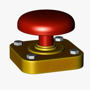 red button 3d c4d