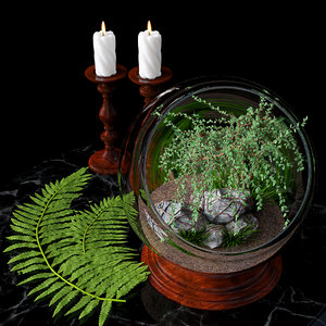 terrarium candlesticks candles 3d model