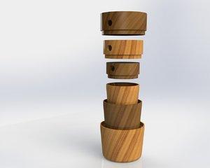 solidworks matryoshka wood decoration 3d model