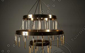 3d axis three-tier golden chandelier model