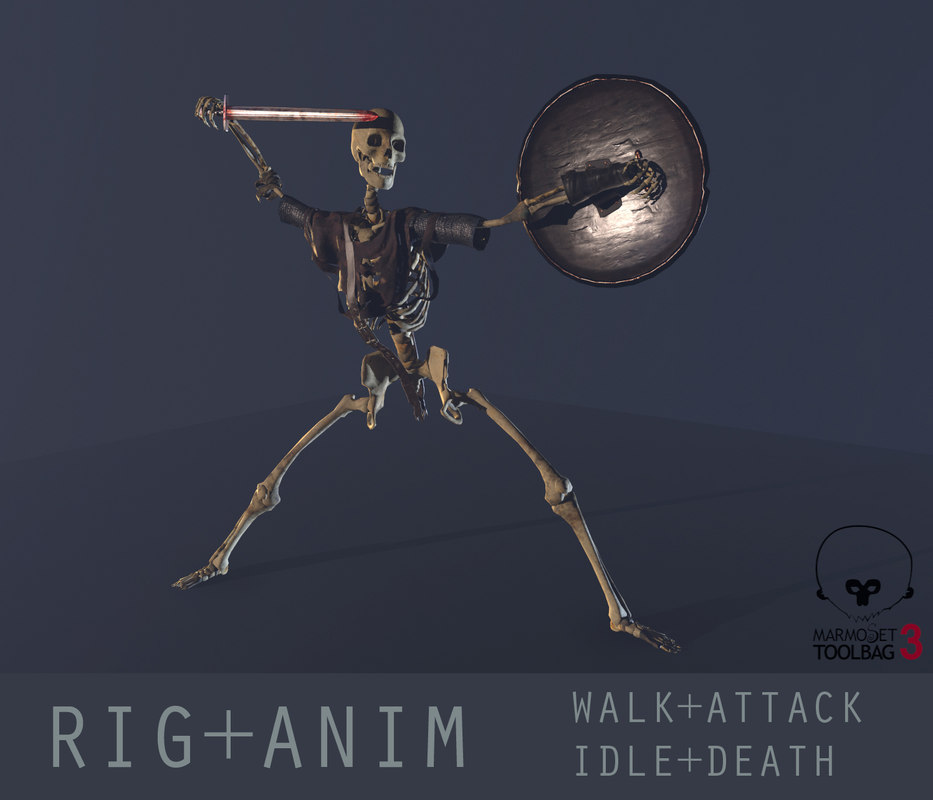 ready rigged skeleton warrior 3d model