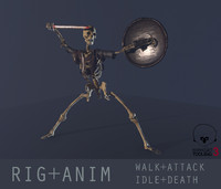 ready rigged skeleton warrior max