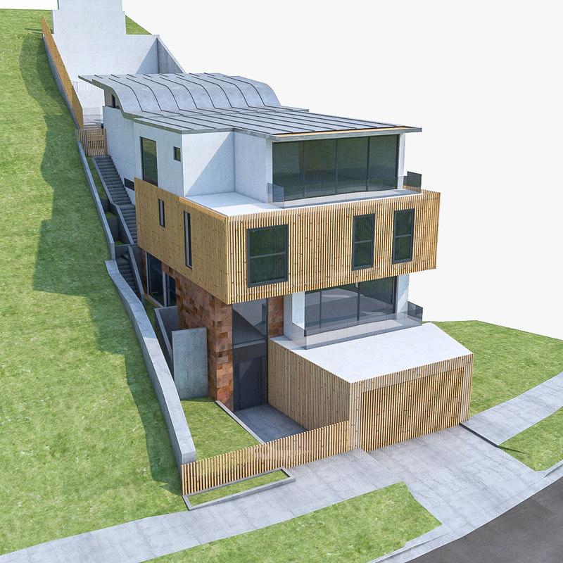3d modern house terrain model
