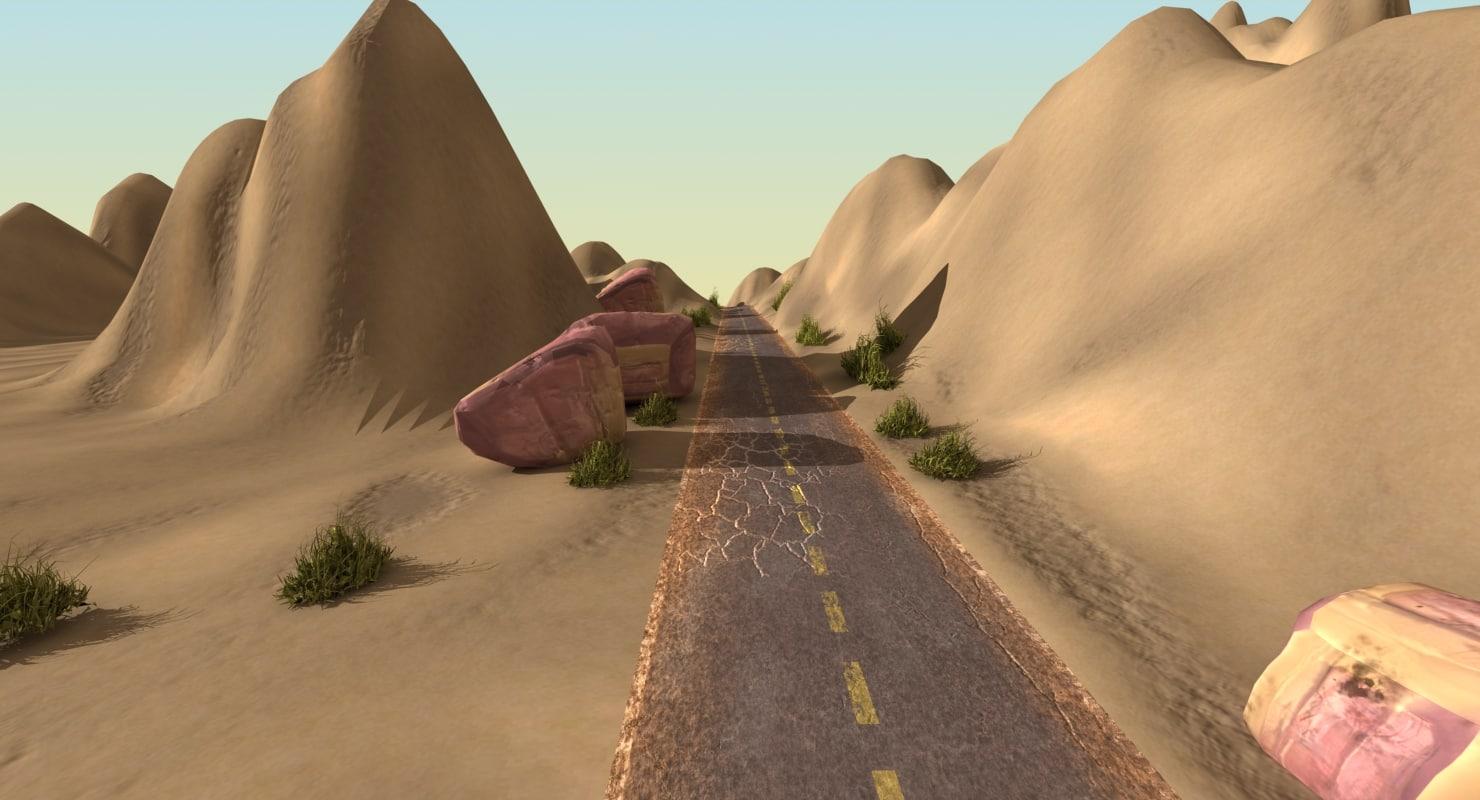 desert landscape road 3d obj