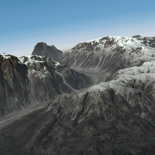 3d mountain range ravine terrain landscape